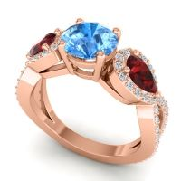 Three Stone Pave Varsa Swiss Blue Topaz Ring with Garnet and Diamond in 14K Rose Gold