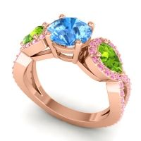 Three Stone Pave Varsa Swiss Blue Topaz Ring with Peridot and Pink Tourmaline in 18K Rose Gold