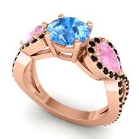 Three Stone Pave Varsa Swiss Blue Topaz Ring with Pink Tourmaline and Black Onyx in 14K Rose Gold