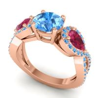 Three Stone Pave Varsa Swiss Blue Topaz Ring with Ruby in 14K Rose Gold