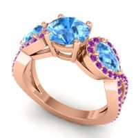 Three Stone Pave Varsa Swiss Blue Topaz Ring with Amethyst in 14K Rose Gold