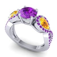 Three Stone Pave Varsa Amethyst Ring with Citrine in 18k White Gold