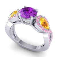 Three Stone Pave Varsa Amethyst Ring with Citrine and Pink Tourmaline in Platinum