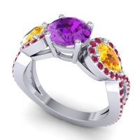 Three Stone Pave Varsa Amethyst Ring with Citrine and Ruby in Platinum