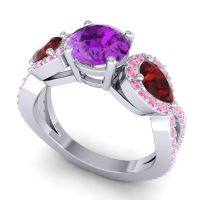 Three Stone Pave Varsa Amethyst Ring with Garnet and Pink Tourmaline in 14k White Gold
