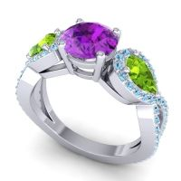 Three Stone Pave Varsa Amethyst Ring with Peridot and Aquamarine in 14k White Gold