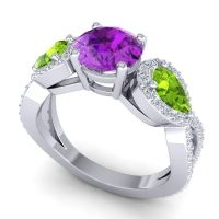 Three Stone Pave Varsa Amethyst Ring with Peridot and Diamond in 18k White Gold