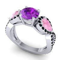 Three Stone Pave Varsa Amethyst Ring with Pink Tourmaline and Black Onyx in 14k White Gold