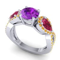 Three Stone Pave Varsa Amethyst Ring with Ruby and Citrine in 14k White Gold
