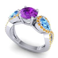 Three Stone Pave Varsa Amethyst Ring with Swiss Blue Topaz and Citrine in Palladium