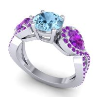 Three Stone Pave Varsa Aquamarine Ring with Amethyst in 14k White Gold