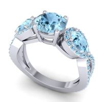 Three Stone Pave Varsa Aquamarine Ring in 18k White Gold