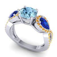 Three Stone Pave Varsa Aquamarine Ring with Blue Sapphire and Citrine in Palladium