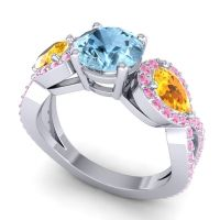 Three Stone Pave Varsa Aquamarine Ring with Citrine and Pink Tourmaline in Platinum