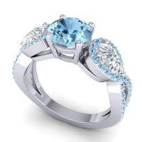 Three Stone Pave Varsa Aquamarine Ring with Diamond in 14k White Gold