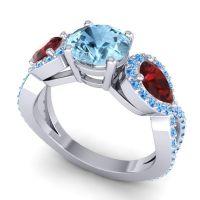 Three Stone Pave Varsa Aquamarine Ring with Garnet and Swiss Blue Topaz in 18k White Gold