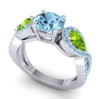 Three Stone Pave Varsa Aquamarine Ring with Peridot in 18k White Gold