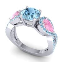 Three Stone Pave Varsa Aquamarine Ring with Pink Tourmaline in 14k White Gold
