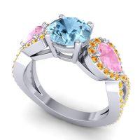 Three Stone Pave Varsa Aquamarine Ring with Pink Tourmaline and Citrine in Palladium