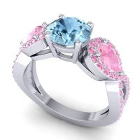 Three Stone Pave Varsa Aquamarine Ring with Pink Tourmaline in Platinum