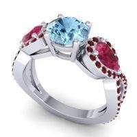 Three Stone Pave Varsa Aquamarine Ring with Ruby and Garnet in Platinum
