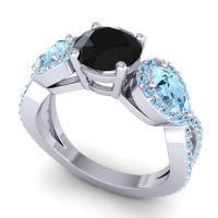 Three Stone Pave Varsa Black Onyx Ring with Aquamarine in 18k White Gold