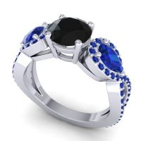 Three Stone Pave Varsa Black Onyx Ring with Blue Sapphire in 18k White Gold