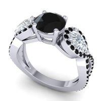 Three Stone Pave Varsa Black Onyx Ring with Diamond in Platinum