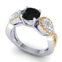 Three Stone Pave Varsa Black Onyx Ring with Diamond and Citrine in 14k White Gold