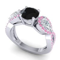 Three Stone Pave Varsa Black Onyx Ring with Diamond and Pink Tourmaline in Palladium
