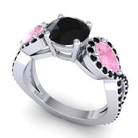 Three Stone Pave Varsa Black Onyx Ring with Pink Tourmaline in 14k White Gold
