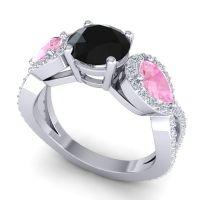 Three Stone Pave Varsa Black Onyx Ring with Pink Tourmaline and Diamond in Platinum
