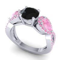 Three Stone Pave Varsa Black Onyx Ring with Pink Tourmaline in Platinum