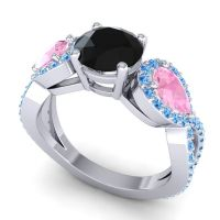 Three Stone Pave Varsa Black Onyx Ring with Pink Tourmaline and Swiss Blue Topaz in Platinum