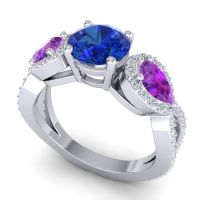Three Stone Pave Varsa Blue Sapphire Ring with Amethyst and Diamond in 14k White Gold