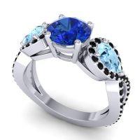 Three Stone Pave Varsa Blue Sapphire Ring with Aquamarine and Black Onyx in Palladium
