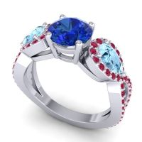 Three Stone Pave Varsa Blue Sapphire Ring with Aquamarine and Ruby in Palladium