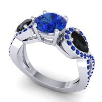 Three Stone Pave Varsa Blue Sapphire Ring with Black Onyx in Palladium