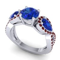 Three Stone Pave Varsa Blue Sapphire Ring with Garnet in Platinum