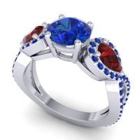 Three Stone Pave Varsa Blue Sapphire Ring with Garnet in 14k White Gold