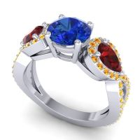 Three Stone Pave Varsa Blue Sapphire Ring with Garnet and Citrine in 14k White Gold