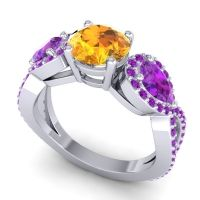 Three Stone Pave Varsa Citrine Ring with Amethyst in 18k White Gold