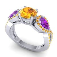 Three Stone Pave Varsa Citrine Ring with Amethyst in 14k White Gold