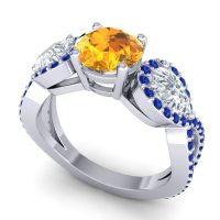 Three Stone Pave Varsa Citrine Ring with Diamond and Blue Sapphire in Platinum