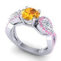 Three Stone Pave Varsa Citrine Ring with Diamond and Pink Tourmaline in Platinum