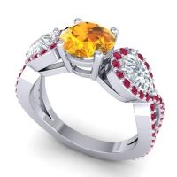 Three Stone Pave Varsa Citrine Ring with Diamond and Ruby in 18k White Gold