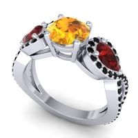 Three Stone Pave Varsa Citrine Ring with Garnet and Black Onyx in 14k White Gold