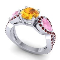 Three Stone Pave Varsa Citrine Ring with Pink Tourmaline and Garnet in 14k White Gold