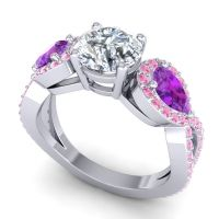 Three Stone Pave Varsa Diamond Ring with Amethyst and Pink Tourmaline in 14k White Gold