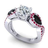 Three Stone Pave Varsa Diamond Ring with Black Onyx and Ruby in Platinum